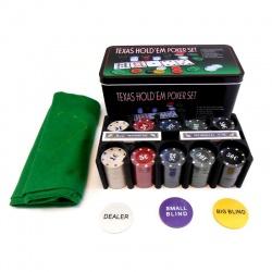 Juego de Póker Texas Holdem en caja metálica