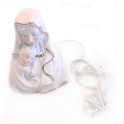 Busto virgen de porcelana con niño con luz