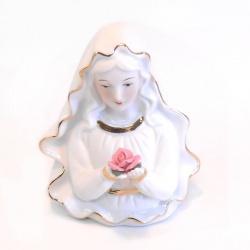 Busto virgen de porcelana con rosa A009