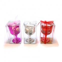 Porta vela con forma de copa varios colores