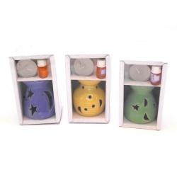 Porta vela de cerámica con aromatizador x1 varios motivos