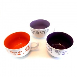 Taza mediana para sopa en varios colores decorada