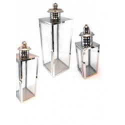 juego de 3 faroles metalicos para interiores