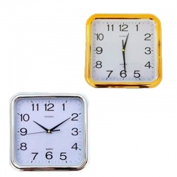 Reloj de pared cuadrado Oro y Plata