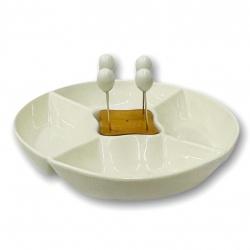 Copetinero De ceramica blanco + pinchos I.393