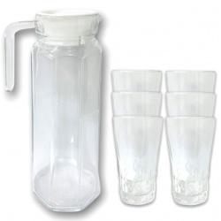 jarra de Vidrio 1.2lts + 6 vasos i.3016