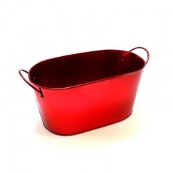 macetero oval rojo metalizado