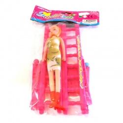 Muñeca con camita desarmable