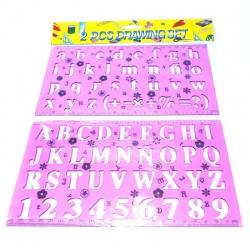 Regla Fantasía con Letras y Números Plantillas x 2.