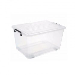 Caja Plástica transparente con ruedas