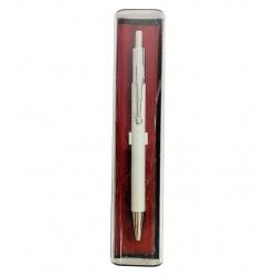 Bolígrafo plateado en estuche